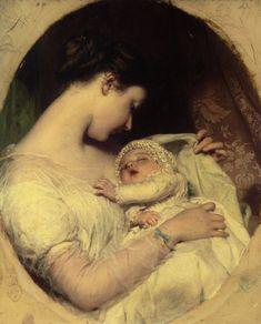 Artists Wife Elizabeth and Daughter :: James Sant