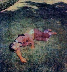 Tate Murders...Voytek Frykowski on the lawn of the Polanski house, 'Manson family murders'