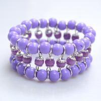 How to make a Delicate Purple Beaded Cuff Bracelet. Basic skills. #Beading #Jewelry #Tutorials