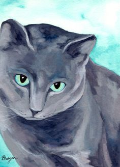 Blue Russian cat watercolor painting