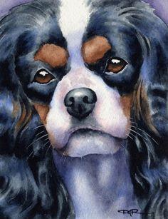 CAVALIER KING CHARLES Spaniel Dog Art Print Signed by Artist D J Rogers