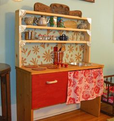 kid kitchen, toy kitchen, old furniture, kid furniture, homemade toys, recycled furniture, shelving units, kitchen ideas, play kitchens