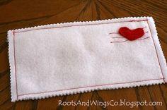 felt envelope, simple sew + pinking shear edges