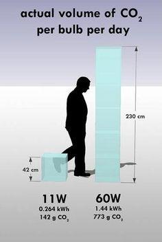 El muy diferente volumen de dióxido de carbono de nuestras bombillas  En este sencillo gráfico se puede apreciar la diferencia que supone utilizar bombillas incandescentes o de bajo consumo en la emisión de gases de efecto invernadero.