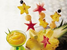 Fruit Kabobs with Tropical Fruit Coulis
