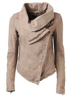 Muubaa Thaxter Drape Suede Cardigan in Light Mink • suede jacket • asymmetrical zipper • fall fashion