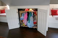 dress up storage tips: Hang them on wall hooks. My current method of storing dress up clothes is to separate them into 2 batches: one batch is hung up on a caterpillar wall rack. These include things that do better hanging or require more space, like the aforementioned dragon costume. The coordinating helmets, hats and other accessories are hung together.  Fold them into baskets and bins. The second batch is folded and stacked into a storage basket.  Make room in a closet Other great ideas fo...