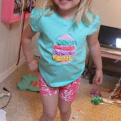 This adorable Easy Easter Egg Shirt is really easy to sew up and looks absolutely adorable once it is finished.