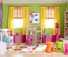 Girls playroom.. love the bright colors