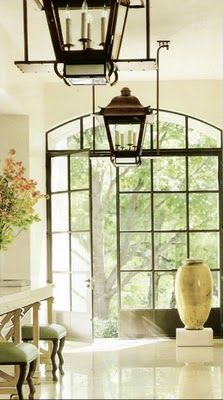 Black trim glass doors