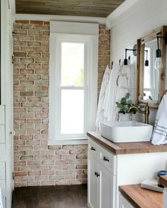 Bathroom with brick