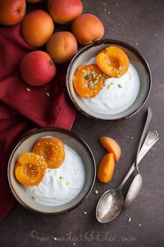 Honeyed White Wine Poached Apricots with Yogurt and Pistachios
