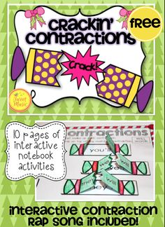 FREEBIE!  Teach your students about contractions this holiday season with this interactive Crackin' Contractions activity and rap song. Your students will learn about contractions by creating an interactive christmas cracker that showcases contractions and the words that form them.  Included in this freebie is an original interactive rap written by Tweet Music. There are segments within the rap that students are able to respond to with contractions. FREE!