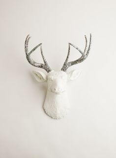 Mothers Day Gift- Faux Taxidermy - The Weston - White W/ Silver Glitter Antlers Resin Deer Head- Stag Resin White Faux Taxidermy