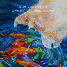 "Painting a Dog a Day - painted pet portraits by Kimberly Kelly Santini, ""One Fish, Two Fish"""