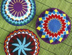 tapestry crochet patterns to use in making flying discs.  Guatemalan Kippot