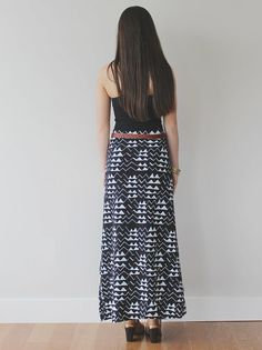 Hand Printed 'Mountain' Maxi Skirt in White on by thiefandbandit, $75.00