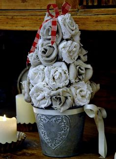 burlap flower Christmas tree tutorial