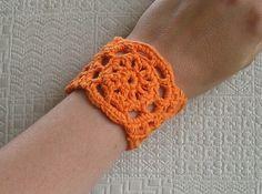 Cuff Bracelet Crochet Cotton Orange Accessory Jewelry Handmade by Amy K. $10.00, via Etsy.