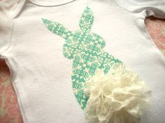 Easter Shirt - Bunny Butt - Turquoise with Lace Tail- Spring and Easter- Sizes 8-12 Girls on Etsy, $21.00
