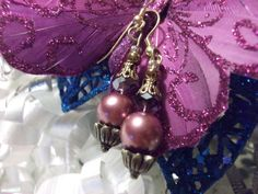 Purple Earrings Pearl Earrings Purple Crystal Earrings by mscenna, $8.00