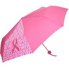 This fashionable pink umbrella has a single panel with a pink ribbon design on a damask print. A portion of the net proceeds from this Pink Ribbon item will be donated to support breast cancer research. #breastcancerawareness #pinkribbon