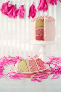 Pink Ombre Cake with Strawberry Mascarpone Frosting