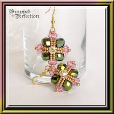 Green Pink & Gold Earrings / Crystal / Seed by WrappedToPerfection, $25.00