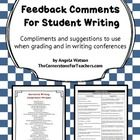 Feedback comments for student writing: use when grading and/or in writing conferences