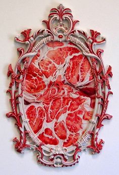 Raw reflection - meat paintings by Victoria Reynolds