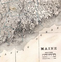 Maine State Map USA Steel Engraved New England 1884 Victorian Cartography To Frame