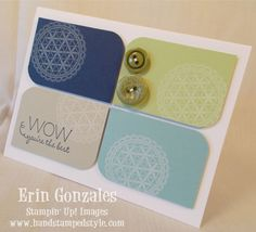 squar, hand stamped, color combos, button, purpos card