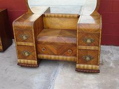 Art Deco Waterfall Furniture | American Vanity Dresser Art Deco Waterfall Bedroom Furniture