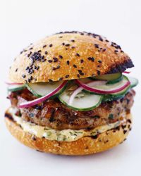 Thai Tuna Burgers with Ginger-Lemon Mayonnaise & Red Onion