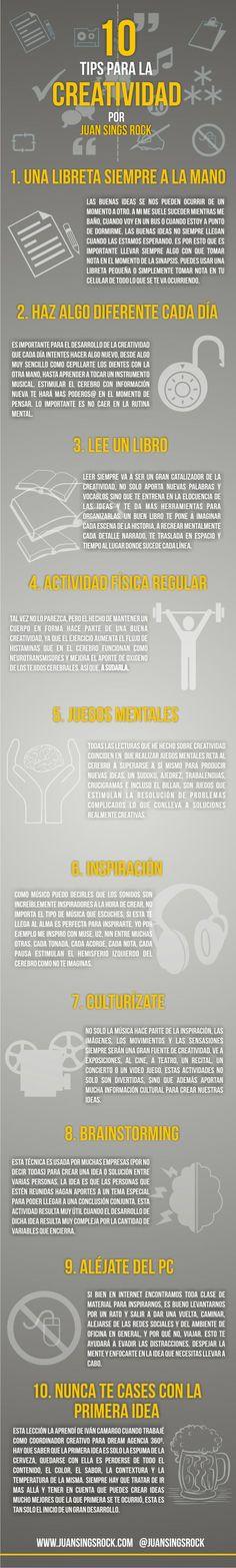 10 consejos para la creatividad #infografia #infographic