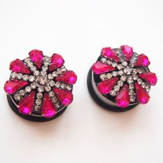 Deep Pink Fancy Lady Rhinestone Plugs by Glamsquared