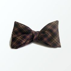 Men's Bow Tie Brown Tartan Check Plaid Wool Fabric Self Tie Bow Tie for Men, Chirstmas Gift and Wedding / READY TO SHIP
