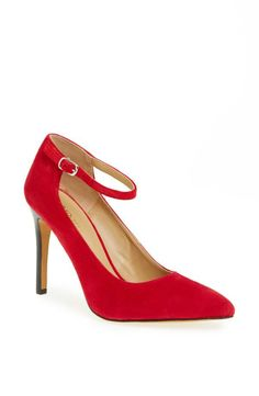 Yes to this red suede pump!