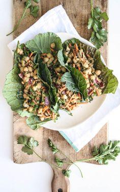 Green tacos! Chickpea and avocado collard green tacos with tahini sauce #eatyourveggies #green