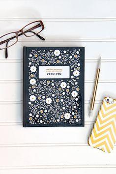 PERSONALIZED Flora Patterned Journal by SplendidSupplyCo on Etsy, $25.00