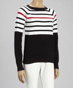 Love this Black & Red Stripe Crew Neck Sweater by kersh on #zulily! #zulilyfinds