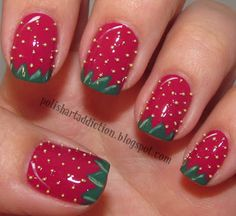 cute strawberry fields, polish art, toe, candies, strawberries, summer nails, nail arts, watermelon, black