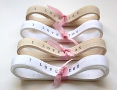 Wedding Twill Tape Custom Printed Ribbon Twill Ribbon 4 yards personalized ribbon i love you ribbon shabby chic Wedding favors decor. $10.00, via Etsy.