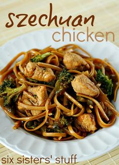 Szechuan Chicken and Noodles from SixSistersStuff.com.  Tastes like takeout but from your own kitchen! #recipes #dinner #chicken #chinese