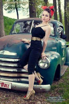 Rockabilly girl with car.