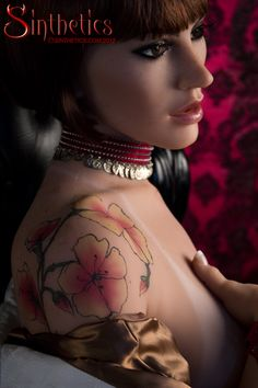 Cherry blossom tattoo on a real life size Sinthetics doll