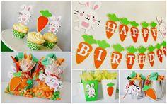 Hoppy Birthday Party Package by Pinwheel Lane on etsy #easter #bunny #carrot #party