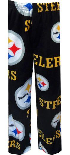WebUndies.com Pittsburgh Steelers Logo Fleece Black Lounge Pants