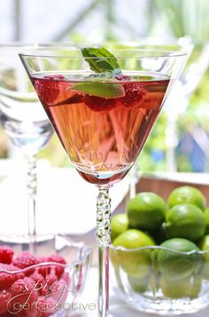 Raspberry Basil Mojitos  Cocktail Contest!  from @Sommer | A Spicy Perspective