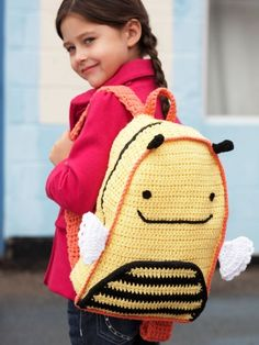 Busy Bee Backpack | Yarn | Free Knitting Patterns | Crochet Patterns | Yarnspirations